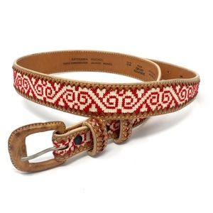 Western Huichol Embroidery Cowhide Jalisco Belt